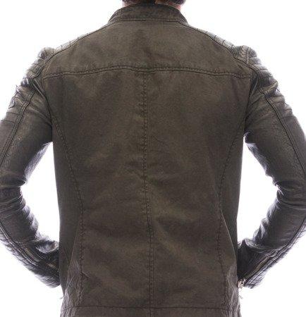 kurtka skórzana/dżins ciemny brąz